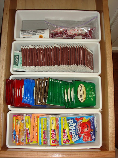 Best way to organize kitchen drawers with tea and coffee pods. -- Easy DIY small kitchen organization ideas and storage tips for your cabinets, your countertops, under your sink and in your pantry! I'll bet you could go to the dollar store or dollar tree and do these projects for cheap. These hacks are great for apartments! Listotic.com
