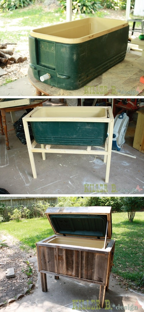 AWESOME Ice chest makeover!! -- Easy DIY furniture makeovers and ideas! A lot of repurposed thrift store projects and chalk paint ideas so that you can do it for cheap. Before and after photos of dressers, tables, shelves, tv stands and more! For bedrooms and living rooms. Listotic.com