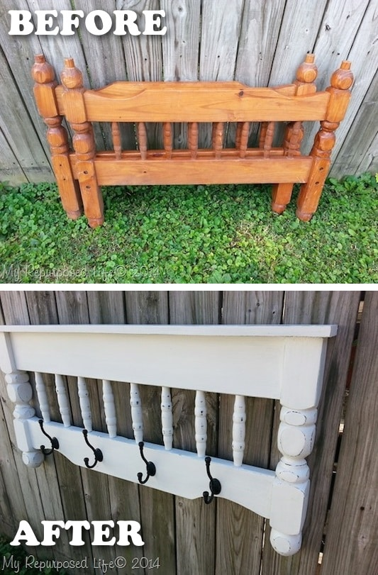Bed post to coat rack! -- Easy DIY furniture makeovers and ideas! A lot of repurposed thrift store projects and chalk paint ideas so that you can do it for cheap. Before and after photos of dressers, tables, shelves, tv stands and more! For bedrooms and living rooms. Listotic.com