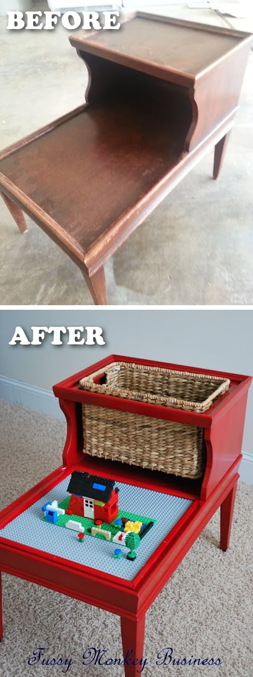 Easy DIY lego table with storage! -- Easy DIY furniture makeovers and ideas! A lot of repurposed thrift store projects and chalk paint ideas so that you can do it for cheap. Before and after photos of dressers, tables, shelves, tv stands and more! For bedrooms and living rooms. Listotic.com