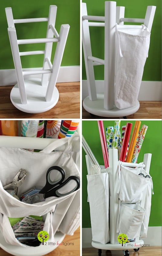 DIY and easy way to store gift wrapping paper. -- Easy DIY furniture makeovers and ideas! A lot of repurposed thrift store projects and chalk paint ideas so that you can do it for cheap. Before and after photos of dressers, tables, shelves, tv stands and more! For bedrooms and living rooms. Listotic.com