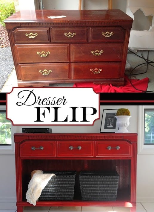 Rehab an old dresser! This would make for a nice TV stand. -- Easy DIY furniture makeovers and ideas! A lot of repurposed thrift store projects and chalk paint ideas so that you can do it for cheap. Before and after photos of dressers, tables, shelves, tv stands and more! For bedrooms and living rooms. Listotic.com