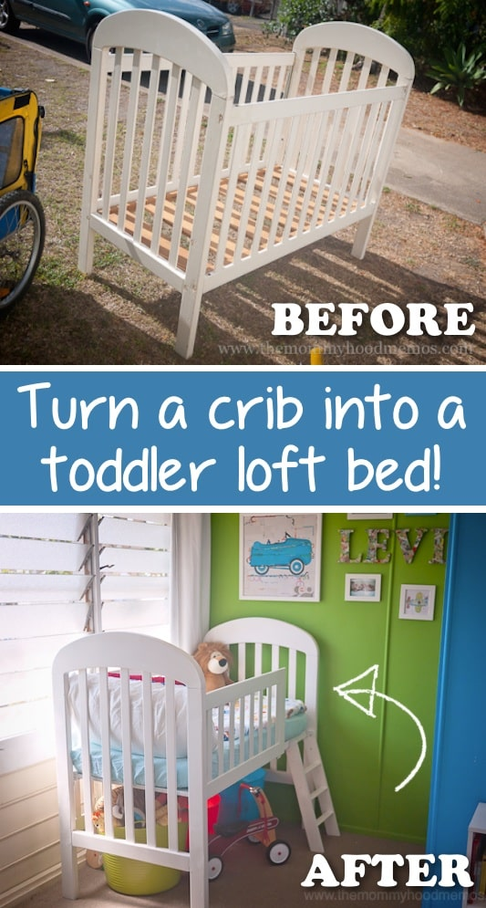 Repurpose that old crib and easily turn it into a toddler bed! -- Easy DIY furniture makeovers and ideas! A lot of repurposed thrift store projects and chalk paint ideas so that you can do it for cheap. Before and after photos of dressers, tables, shelves, tv stands and more! For bedrooms and living rooms. Listotic.com