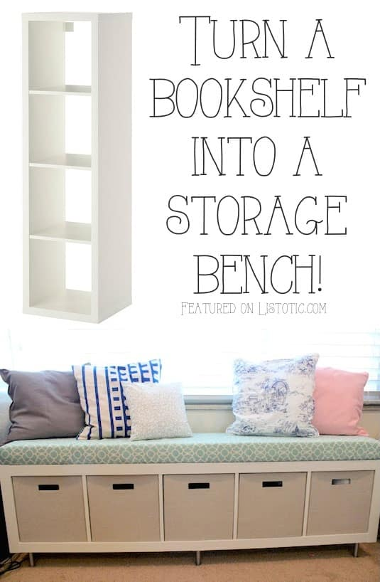 Turn a bookshelf into a cute storage bench! Easy DIY furniture makeovers and ideas! A lot of repurposed thrift store projects and chalk paint ideas so that you can do it for cheap. Before and after photos of dressers, tables, shelves, tv stands and more! For bedrooms and living rooms. Listotic.com