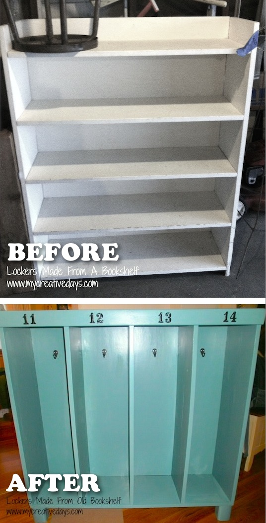 Turn an old book shelf into a mini mud room for kids. -- Easy DIY furniture makeovers and ideas! A lot of repurposed thrift store projects and chalk paint ideas so that you can do it for cheap. Before and after photos of dressers, tables, shelves, tv stands and more! For bedrooms and living rooms. Listotic.com