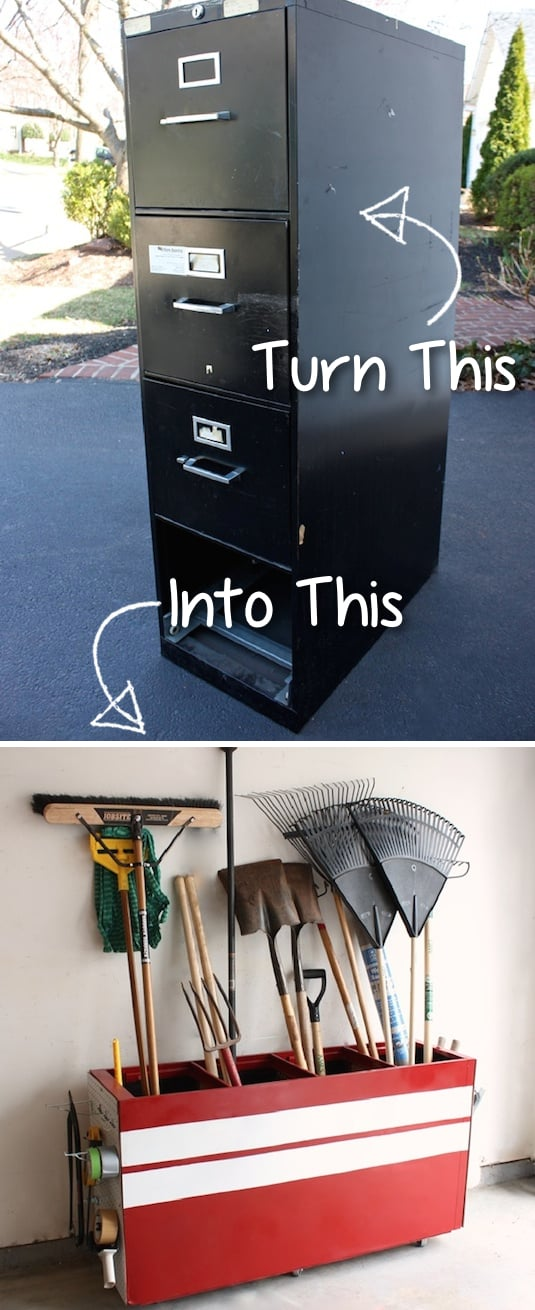 Turn an old file cabinet into garage storage! -- Easy DIY furniture makeovers and ideas! A lot of repurposed thrift store projects and chalk paint ideas so that you can do it for cheap. Before and after photos of dressers, tables, shelves, tv stands and more! For bedrooms and living rooms. Listotic.com