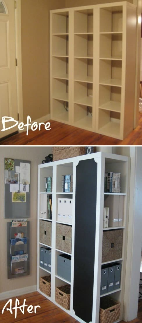 Ikea furniture hack shelf -- Easy DIY furniture makeovers and ideas! A lot of repurposed thrift store projects and chalk paint ideas so that you can do it for cheap. Before and after photos of dressers, tables, shelves, tv stands and more! For bedrooms and living rooms. Listotic.com