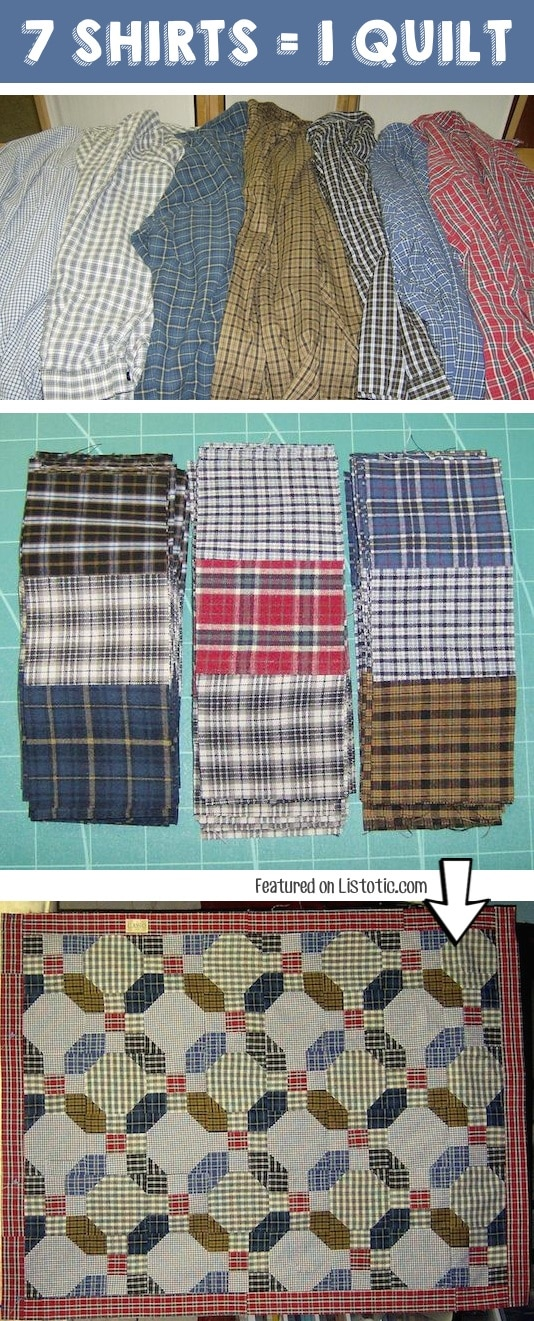 Make a quilt out of old shirts! -- Easy DIY craft ideas for adults for the home, for fun, for gifts, to sell and more! Some of these would be perfect for Christmas or other holidays. A lot of awesome projects here! Listotic.com