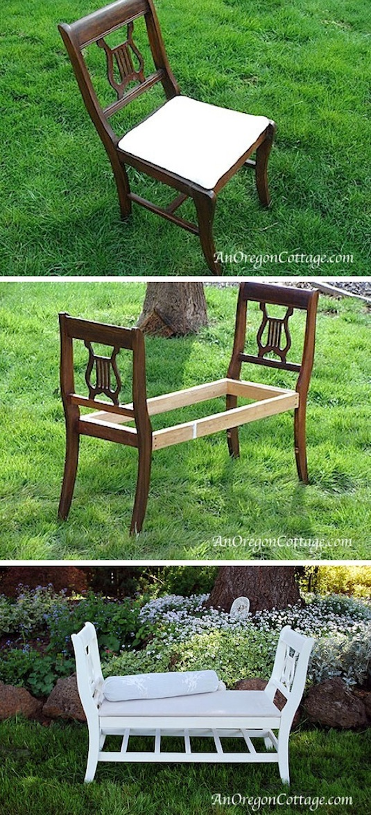 How to turn chairs into a bench. -- Easy DIY furniture makeovers and ideas! A lot of repurposed thrift store projects and chalk paint ideas so that you can do it for cheap. Before and after photos of dressers, tables, shelves, tv stands and more! For bedrooms and living rooms. Listotic.com