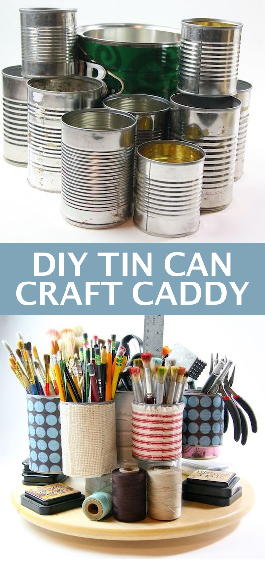 DIY craft caddy made out of tin cans! -- Easy DIY craft ideas for adults for the home, for fun, for gifts, to sell and more! Some of these would be perfect for Christmas or other holidays. A lot of awesome projects here! Listotic.com