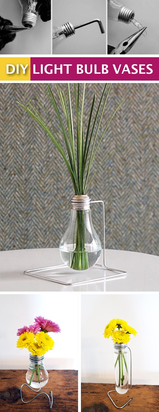 DIY light bulb vase tutorial. -- Easy DIY craft ideas for adults for the home, for fun, for gifts, to sell and more! Some of these would be perfect for Christmas or other holidays. A lot of awesome projects here! Listotic.com
