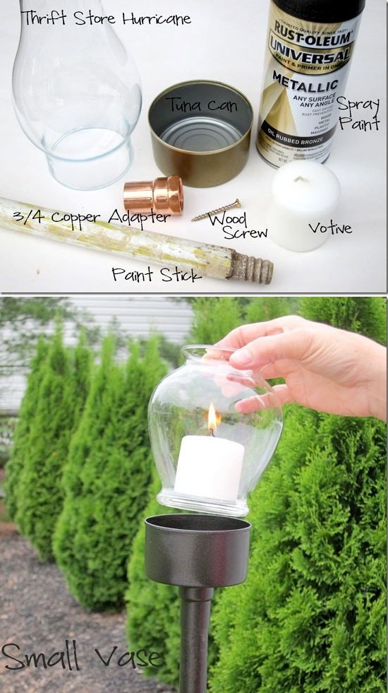 DIY outdoor candle holder made out of a tuna can! -- Easy DIY craft ideas for adults for the home, for fun, for gifts, to sell and more! Some of these would be perfect for Christmas or other holidays. A lot of awesome projects here! Listotic.com