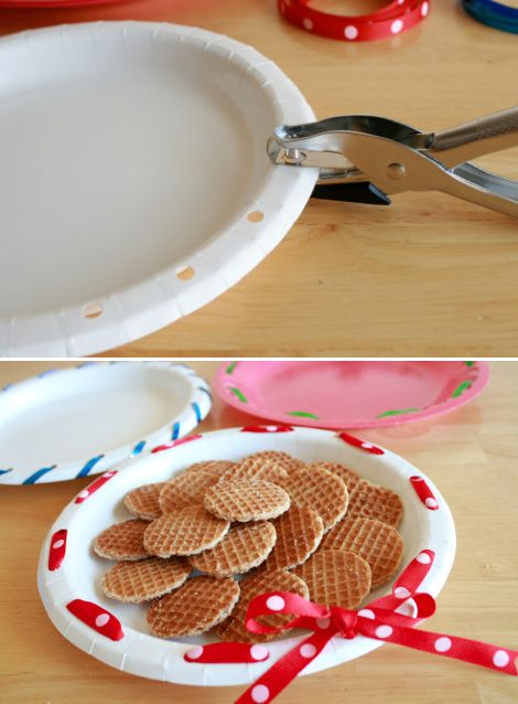 Genius craft ideas decorate plates with ribbon to make them fancy great for bake sales and potlucks 7