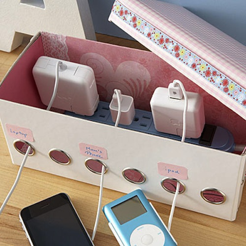 Homemade charging station. -- Easy DIY craft ideas for adults for the home, for fun, for gifts, to sell and more! Some of these would be perfect for Christmas or other holidays. A lot of awesome projects here! Listotic.com