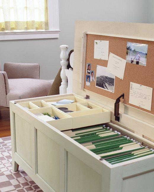 Small office storage solutions and organizing idea. -- Easy DIY furniture makeovers and ideas! A lot of repurposed thrift store projects and chalk paint ideas so that you can do it for cheap. Before and after photos of dressers, tables, shelves, tv stands and more! For bedrooms and living rooms. Listotic.com