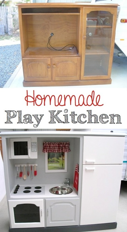 DIY Easy Homemade Play Kitchen from old furniture. -- Easy DIY furniture makeovers and ideas! A lot of repurposed thrift store projects and chalk paint ideas so that you can do it for cheap. Before and after photos of dressers, tables, shelves, tv stands and more! For bedrooms and living rooms. Listotic.com