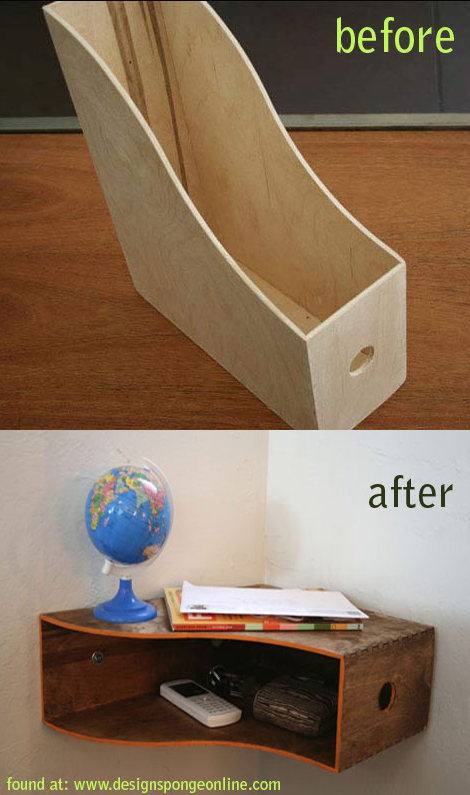 Wall shelf made out of a magazine rack. (small space idea) -- Easy DIY furniture makeovers and ideas! A lot of repurposed thrift store projects and chalk paint ideas so that you can do it for cheap. Before and after photos of dressers, tables, shelves, tv stands and more! For bedrooms and living rooms. Listotic.com