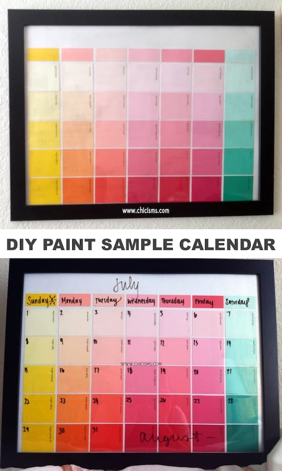 DIY Paint Sample Craft: A reusable calendar! Perfect for kids or teens! -- Easy DIY craft ideas for adults for the home, for fun, for gifts, to sell and more! Some of these would be perfect for Christmas or other holidays. A lot of awesome projects here! Listotic.com