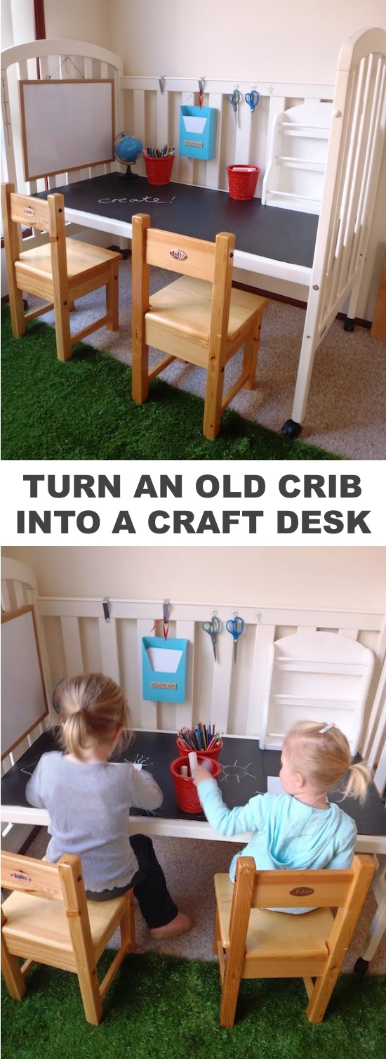 DIY craft desk made out of a crib! -- Easy DIY craft ideas for adults for the home, for fun, for gifts, to sell and more! Some of these would be perfect for Christmas or other holidays. A lot of awesome projects here! Listotic.com