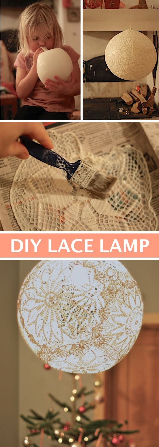 Beautiful DIY Lace Lamp made with a balloon and doilies! -- Easy DIY craft ideas for adults for the home, for fun, for gifts, to sell and more! Some of these would be perfect for Christmas or other holidays. A lot of awesome projects here! Listotic.com