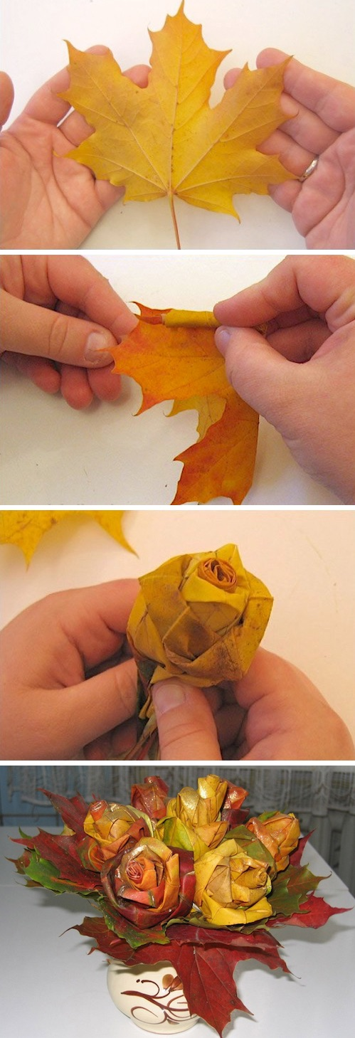 A super fun fall craft! DIY leaf rose bouquet. -- Easy DIY craft ideas for adults for the home, for fun, for gifts, to sell and more! Some of these would be perfect for Christmas or other holidays. A lot of awesome projects here! Listotic.com