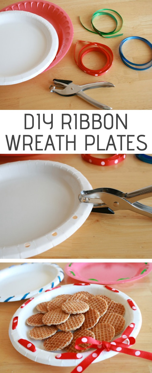 DIY ribbon wreath plates for holiday treats! -- Easy DIY craft ideas for adults for the home, for fun, for gifts, to sell and more! Some of these would be perfect for Christmas or other holidays. A lot of awesome projects here! Listotic.com