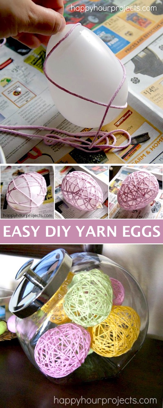 DIY Yarn Egg Easter Decoration -- Easy DIY craft ideas for adults for the home, for fun, for gifts, to sell and more! Some of these would be perfect for Christmas or other holidays. A lot of awesome projects here! Listotic.com