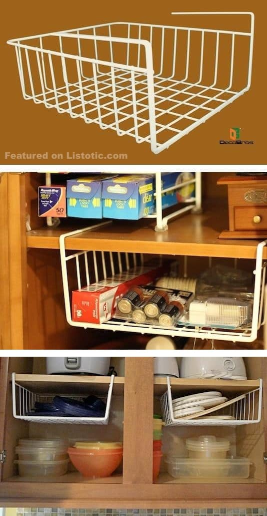 Hanging shelf dividers! Perfect for utilizing empty space in the cabinets. -- Easy DIY small kitchen organization ideas and storage tips for your cabinets, your countertops, under your sink and in your pantry! I'll bet you could go to the dollar store or dollar tree and do these projects for cheap. These hacks are great for apartments! Listotic.com