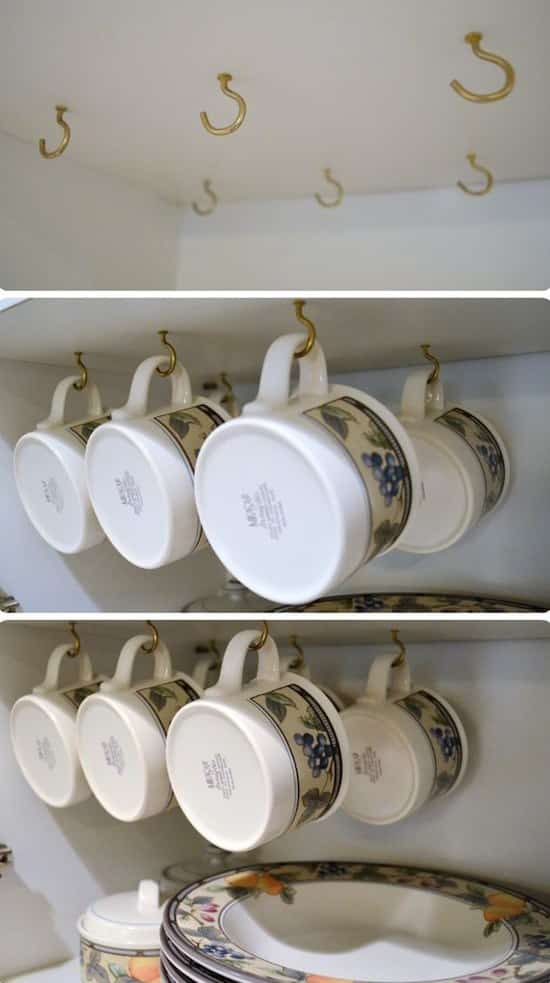 How to organize small kitchen cabinets for cheap. -- Easy DIY small kitchen organization ideas and storage tips for your cabinets, your countertops, under your sink and in your pantry! I'll bet you could go to the dollar store or dollar tree and do these projects for cheap. These hacks are great for apartments! Listotic.com