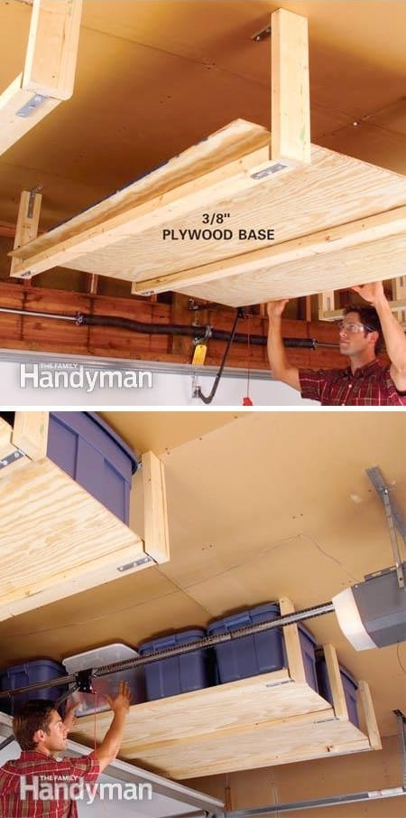 How to create extra space in the garage for storage. -- Easy DIY garage organization ideas and storage tips! A ton of cheap inspiration to get you organized. Everything from shelves to tools! Men AND women will love these tips and tricks. Listotic.com