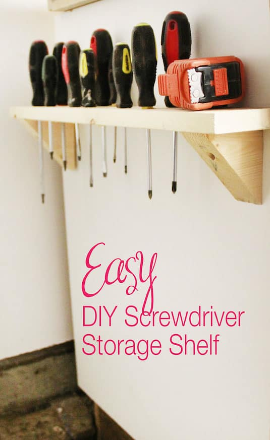 DIY Screwdriver Storage -- Easy DIY garage organization ideas and storage tips! A ton of cheap inspiration to get you organized. Everything from shelves to tools! Men AND women will love these tips and tricks. Listotic.com