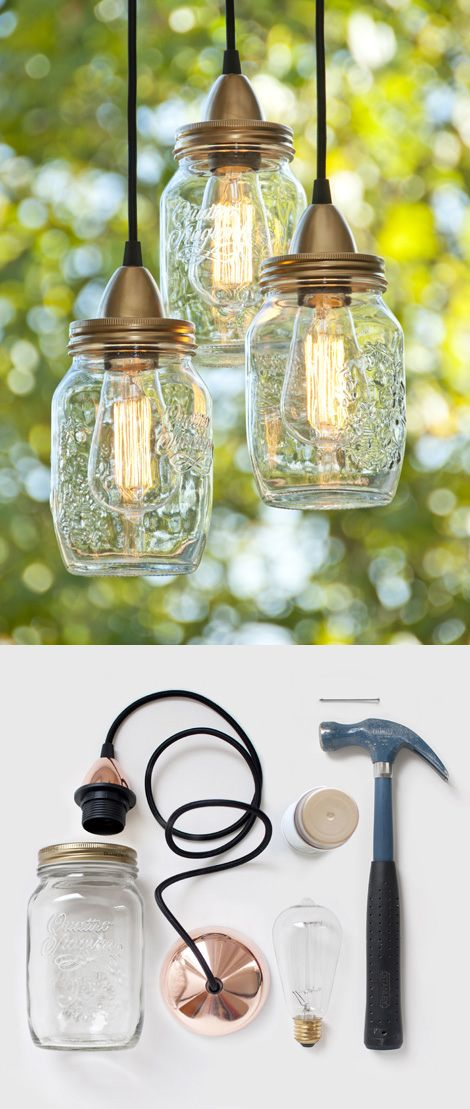 20 Of The Best Mason Jar Projects | Turn mason jars into an awesome hanging light fixture!