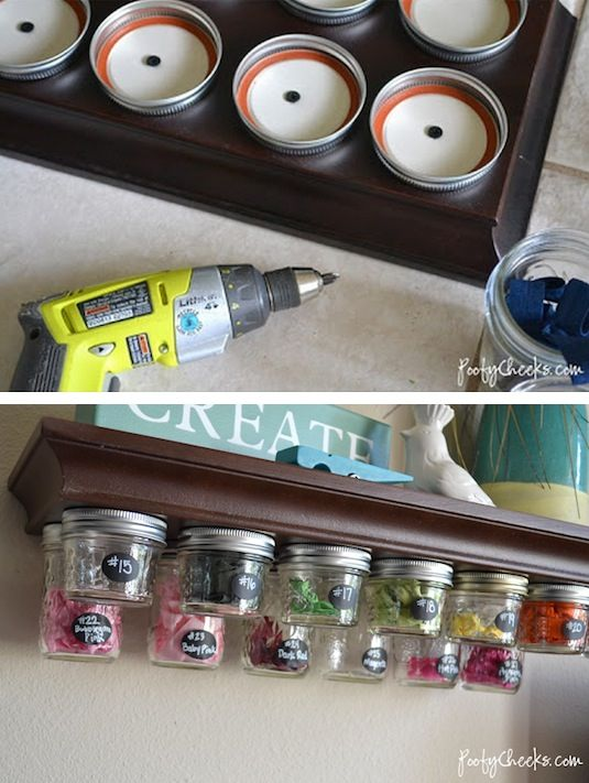 20 Of The Best Mason Jar Projects | Use them for under shelf storage. Perfect for a craft room!