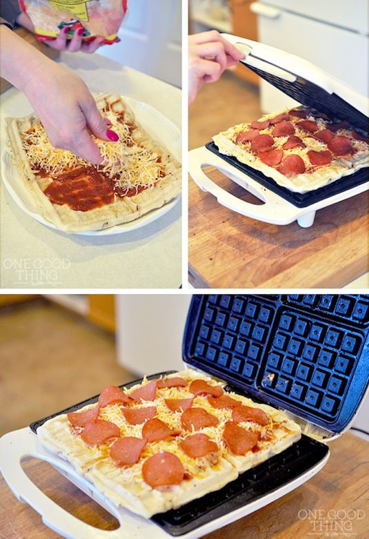 When waffle iron is hot, spray with a generous amount of non-stick spray. Spoon about 1/4 cup batter onto it. Smooth around, then place meat, 2 slices of cheese, and a large spoonful of pizza sauce on top. Add an additional 1/8 cup batter on top of the toppings, quickly smooth with a spoon and close the waffle iron .
