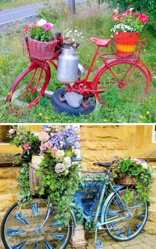 24 Creative Garden Container Ideas | Bicycle Planters!