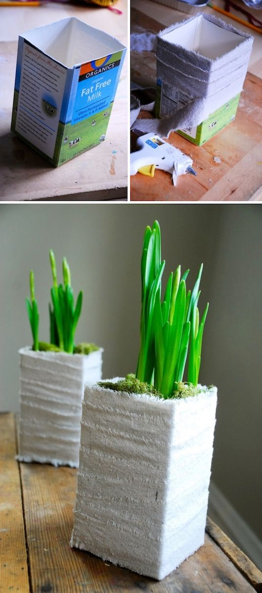 24 Creative Garden Container Ideas | Cute planter made out of a milk carton!