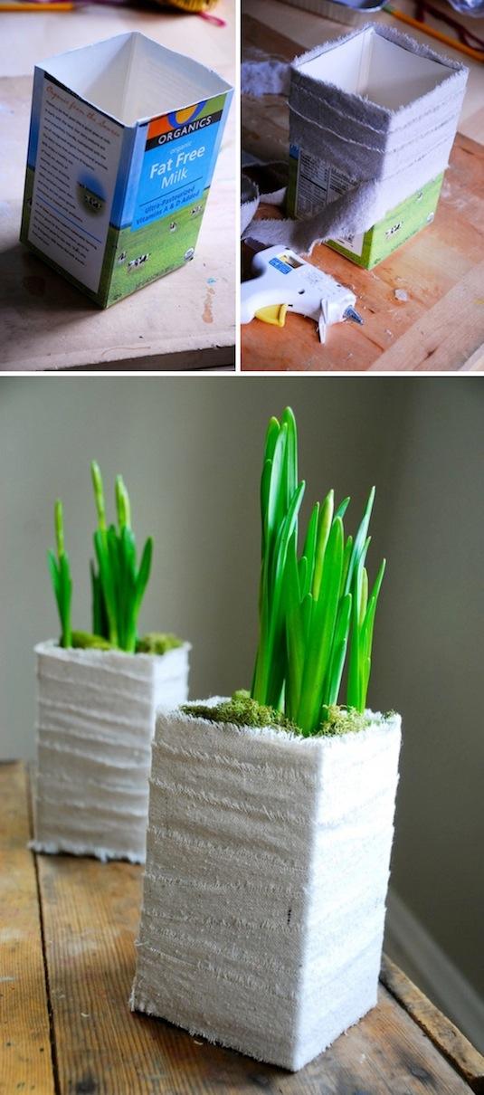 Creative garden container idea Cute planter made out of a milk carton