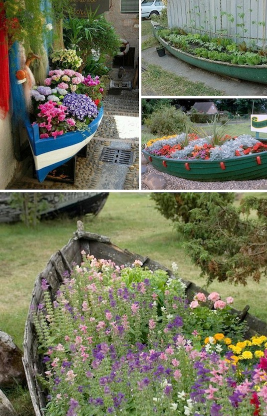 Old boats as planters