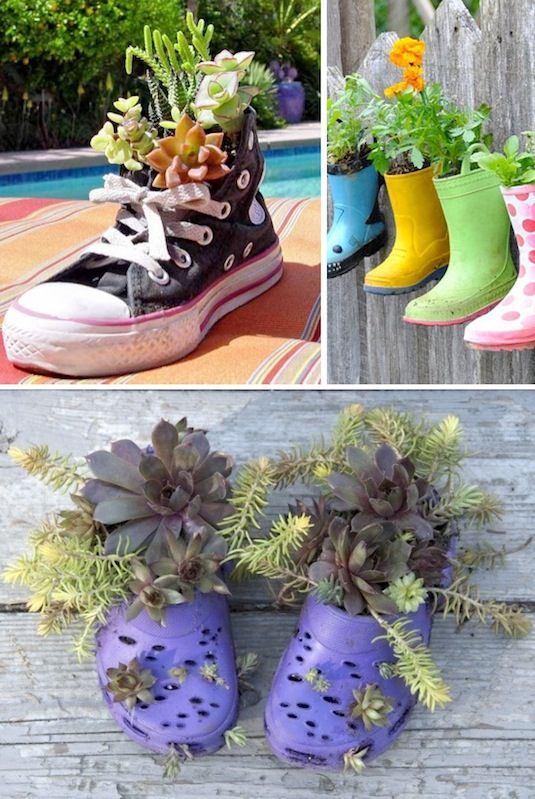 24 Creative Garden Container Ideas | Shoe planters!