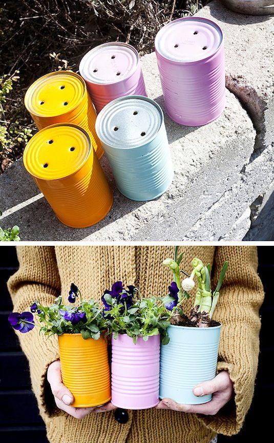 24 Creative Garden Container Ideas   Tin can planters!