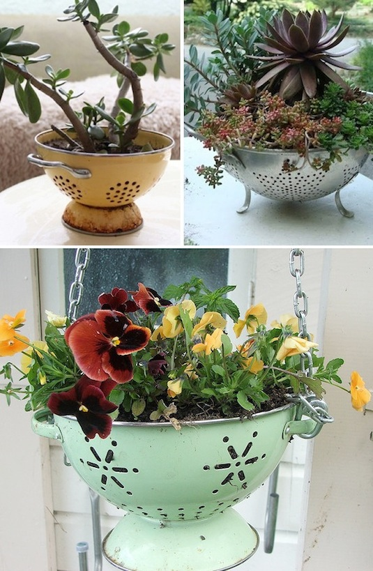 old pasta strainer as a planter