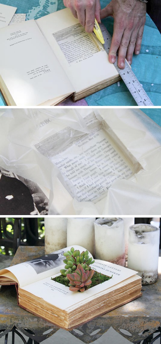 recycle books as planters