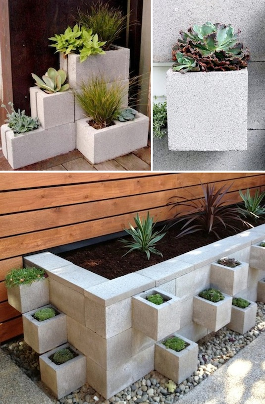 cinder blocks as planters