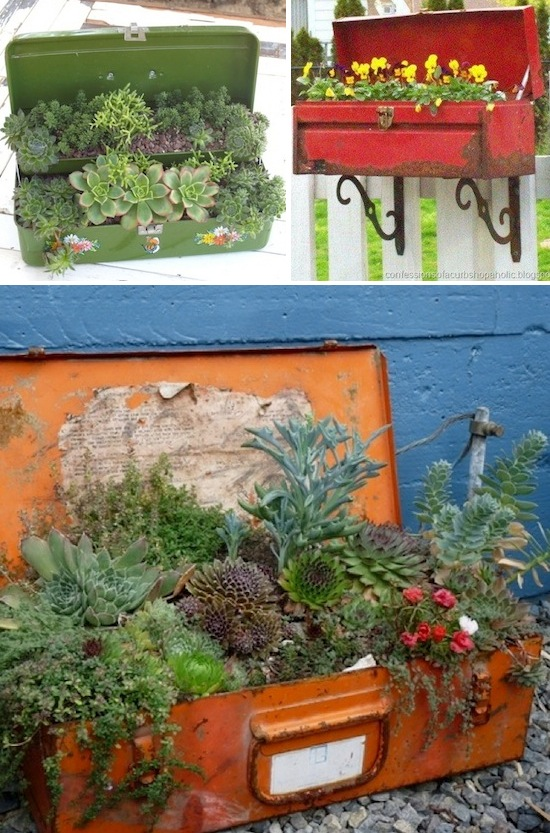 Use old tool chests as a planter