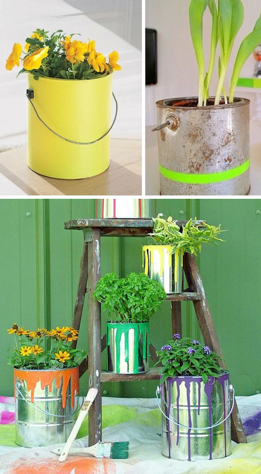 Use paint cans as planters