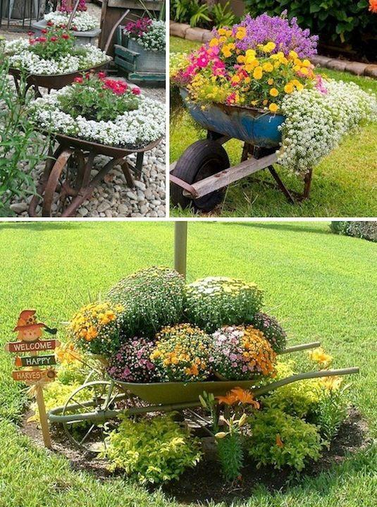 24 Creative Garden Container Ideas   Use wheel barrows as planters!