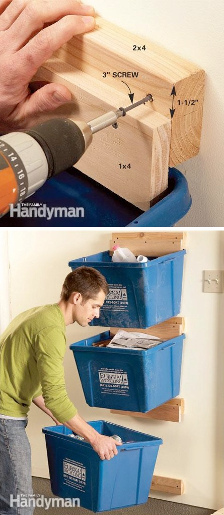 Create Recycle Bin Hangers -- A ton of cheap inspiration to get you organized. Everything from shelves to tools! Men AND women will love these tips and tricks. Listotic.com