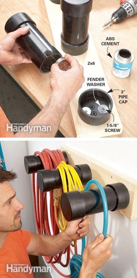 28 Brilliant Garage Organization Ideas | Plastic pipe cord storage