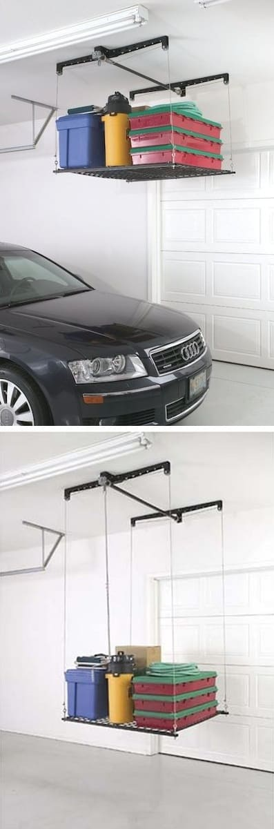 Raises and lowers for easy access! -- Easy DIY garage organization ideas and storage tips! A ton of cheap inspiration to get you organized. Everything from shelves to tools! Men AND women will love these tips and tricks. Listotic.com