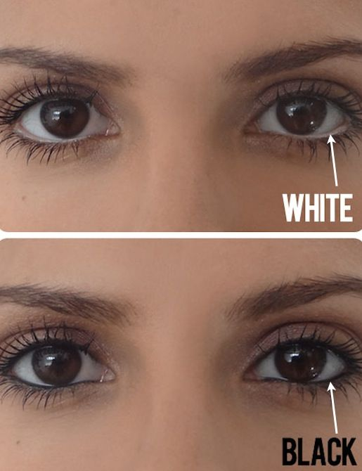 Make Eyes Appear Bigger | If you don't already own a white pencil, invest in one now just for this simple trick! Instead of lining your water line with dark eyeliner, use a white pencil to create the illusion of a bigger eye. If you squint your eyes a little at this picture comparison, you'll see what a difference it really makes.